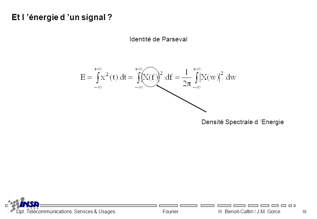 Dpt. Télécommunications, Services & Usages Fourier H. Benoit-Cattin / J.M. Gorce 18 Et l énergie d un signal ? Identité de Parseval Densité Spectrale