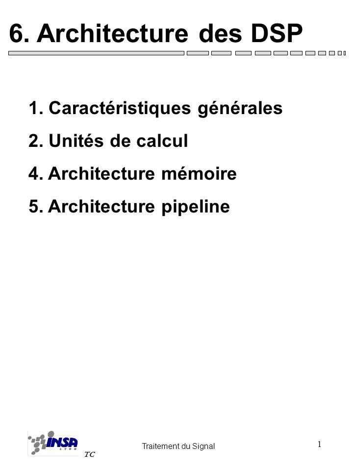 Traitement du Signal TC 1 6. Architecture des DSP 1. Caractéristiques générales 2. Unités de calcul 4. Architecture mémoire 5. Architecture pipeline
