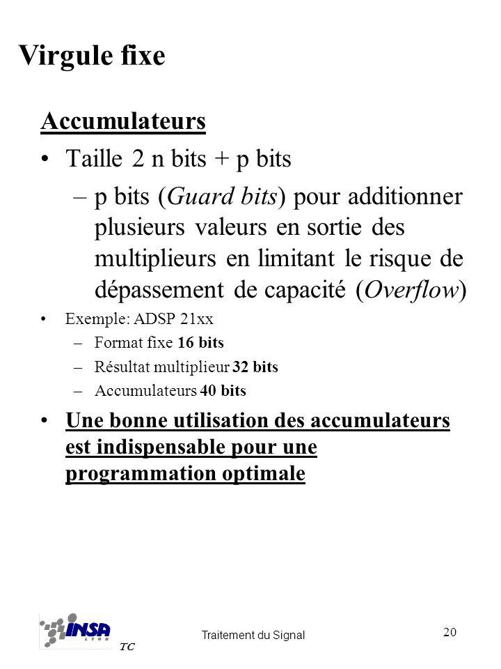 Traitement du Signal TC 20 Accumulateurs Taille 2 n bits + p bits –p bits (Guard bits) pour additionner plusieurs valeurs en sortie des multiplieurs e
