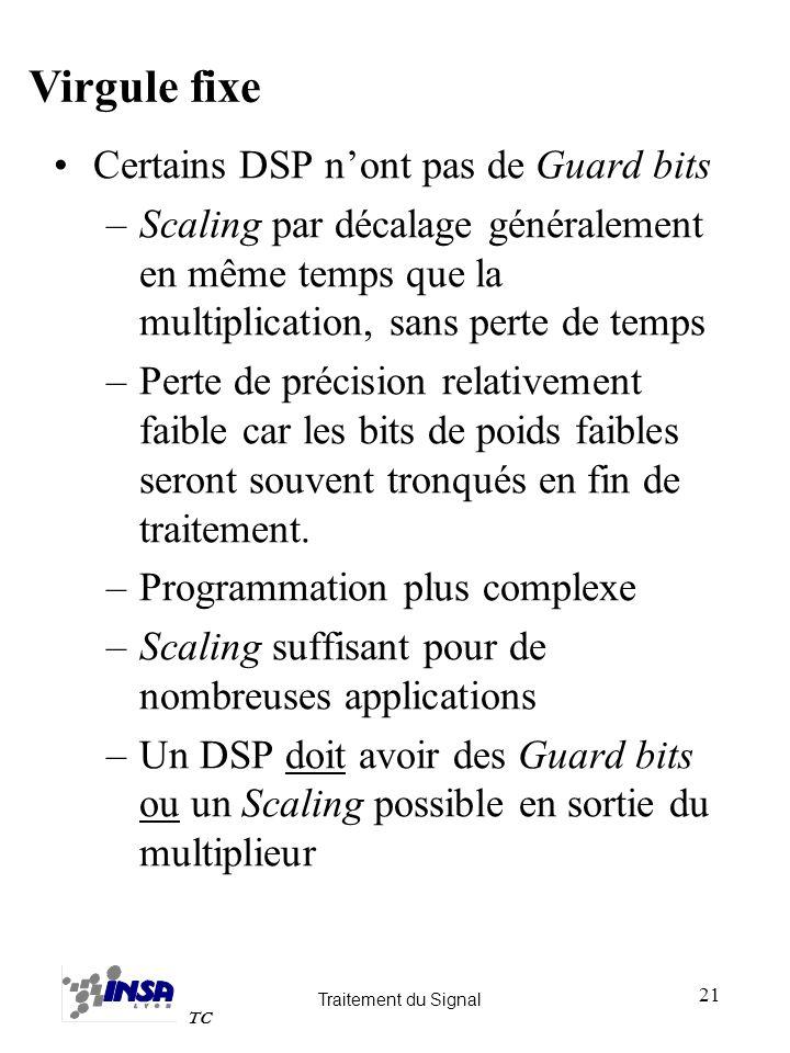 Traitement du Signal TC 21 Certains DSP nont pas de Guard bits –Scaling par décalage généralement en même temps que la multiplication, sans perte de t