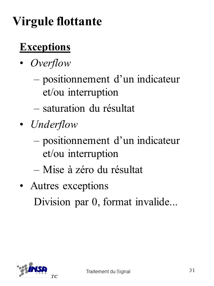 Traitement du Signal TC 31 Exceptions Overflow –positionnement dun indicateur et/ou interruption –saturation du résultat Underflow –positionnement dun