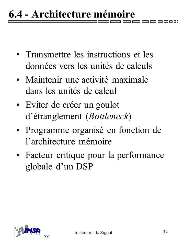 Traitement du Signal TC 32 6.4 - Architecture mémoire Transmettre les instructions et les données vers les unités de calculs Maintenir une activité ma