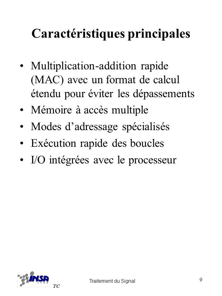 Traitement du Signal TC 10 Représentation des nombres Deux grandes catégories de DSP –Format virgule fixe 16, 20, 24 bits Calcul en précision étendue par logiciel (performance réduite) Emulation du calcul flottant par logiciel (performance réduite) Hardware plus simple, coût réduit Dynamique réduite (144 dB pour 24 bits) programmation complexe (Scaling) pour les traitements nécessitant une bonne précision –Format virgule flottante 32 bits (mantisse 24 bits, exposant 8 bits) Calcul en virgule fixe généralement possible Hardware plus complexe, coût élevé Dynamique élevée (1535dB pour 32 bits) Progammation simplifiée