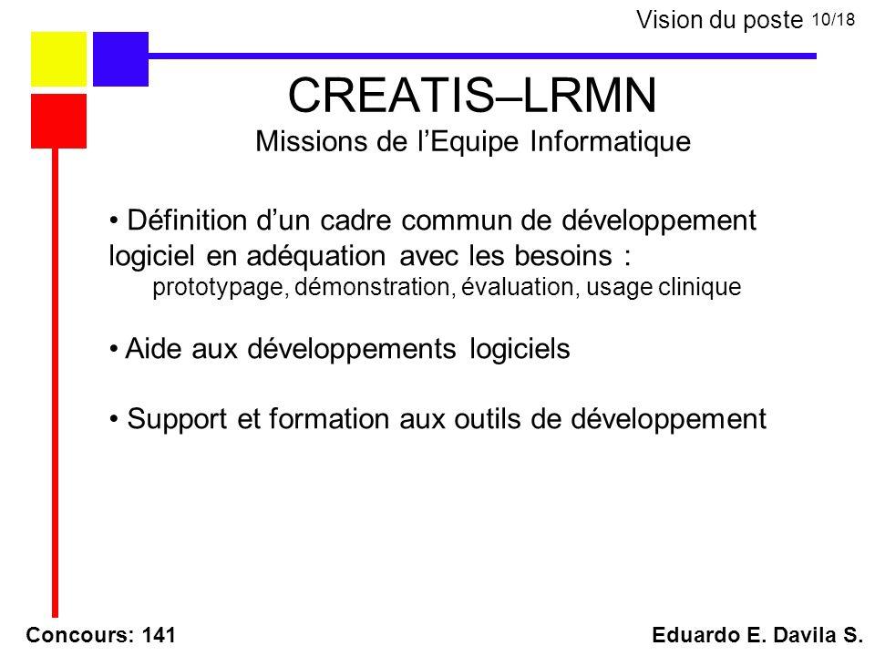 CREATIS–LRMN Missions de lEquipe Informatique Concours: 141 Eduardo E. Davila S. 10/18 Vision du poste Définition dun cadre commun de développement lo