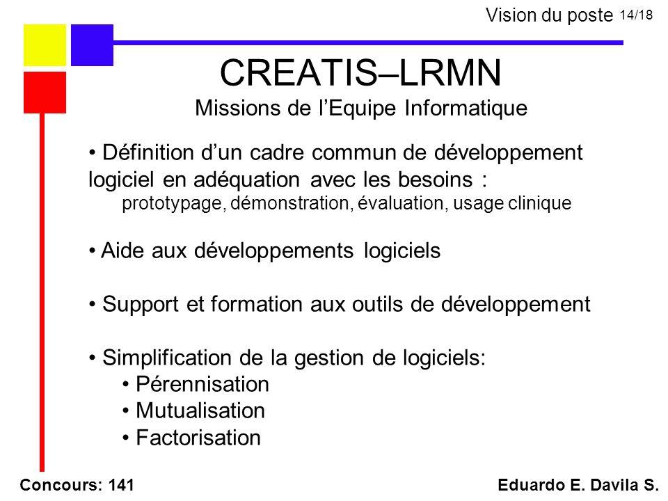 CREATIS–LRMN Missions de lEquipe Informatique Concours: 141 Eduardo E. Davila S. 14/18 Vision du poste Définition dun cadre commun de développement lo
