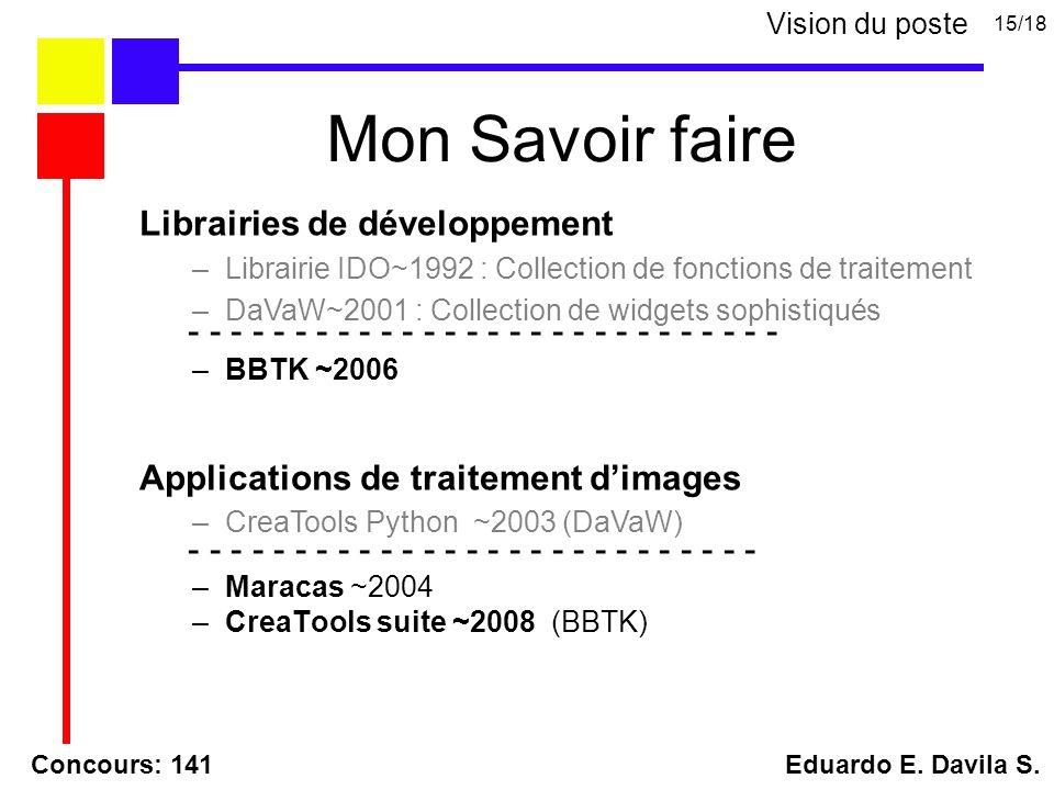 Librairies de développement –Librairie IDO~1992 : Collection de fonctions de traitement –DaVaW~2001 : Collection de widgets sophistiqués Applications de traitement dimages –CreaTools Python ~2003 (DaVaW) - - - - - - - - - - - - - - - - - - - - - - - - - - - - –BBTK ~2006 - - - - - - - - - - - - - - - - - - - - - - - - - - - –Maracas ~2004 –CreaTools suite ~2008 (BBTK) Concours: 141 Eduardo E.