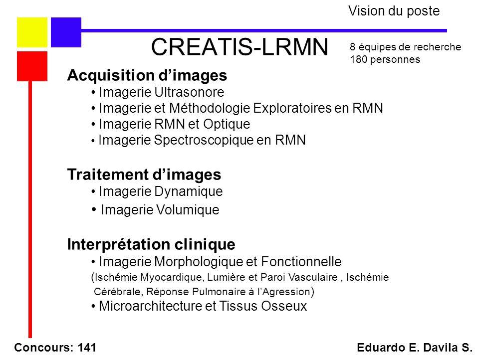 CREATIS-LRMN Acquisition dimages Imagerie Ultrasonore Imagerie et Méthodologie Exploratoires en RMN Imagerie RMN et Optique Imagerie Spectroscopique e