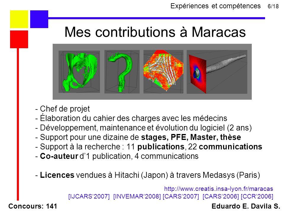- Chef de projet - Élaboration du cahier des charges avec les médecins - Développement, maintenance et évolution du logiciel (2 ans) - Support pour une dizaine de stages, PFE, Master, thèse - Support à la recherche : 11 publications, 22 communications - Co-auteur d1 publication, 4 communications - Licences vendues à Hitachi (Japon) à travers Medasys (Paris) http://www.creatis.insa-lyon.fr/maracas [IJCARS2007] [INVEMAR2008] [CARS2007] [CARS2006] [CCR2006] Concours: 141 Eduardo E.