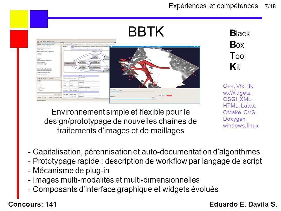 Concours: 141 Eduardo E. Davila S. BBTK 7/18 B lack B ox T ool K it C++, Vtk, Itk, wxWidgets, OSGI, XML, HTML, Latex, CMake, CVS, Doxygen, windows, li