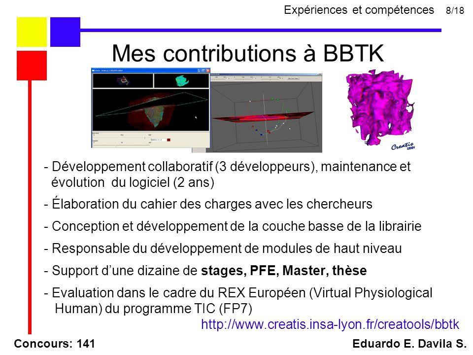 - Développement collaboratif (3 développeurs), maintenance et évolution du logiciel (2 ans) - Élaboration du cahier des charges avec les chercheurs - Conception et développement de la couche basse de la librairie - Responsable du développement de modules de haut niveau - Support dune dizaine de stages, PFE, Master, thèse - Evaluation dans le cadre du REX Européen (Virtual Physiological Human) du programme TIC (FP7) http://www.creatis.insa-lyon.fr/creatools/bbtk Concours: 141 Eduardo E.