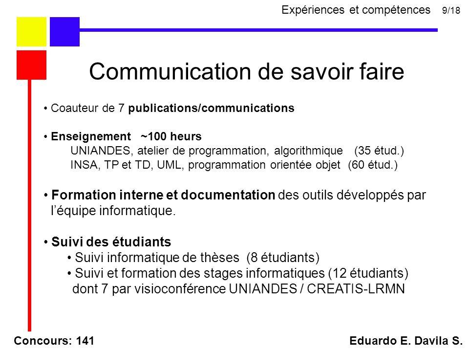 Concours: 141 Eduardo E. Davila S. Communication de savoir faire 9/18 Coauteur de 7 publications/communications Enseignement ~100 heurs UNIANDES, atel