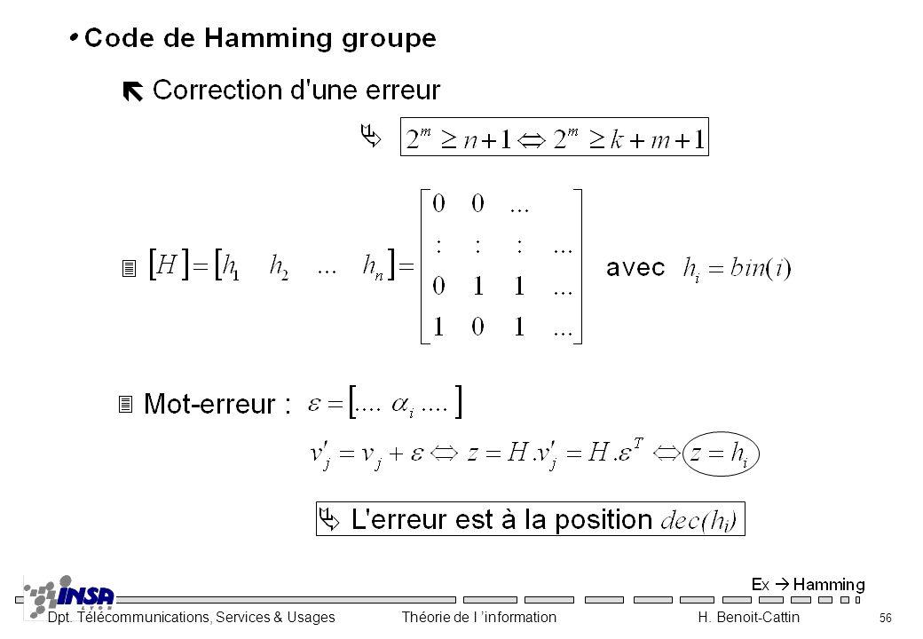 Dpt. Télécommunications, Services & Usages Théorie de l information H. Benoit-Cattin 56