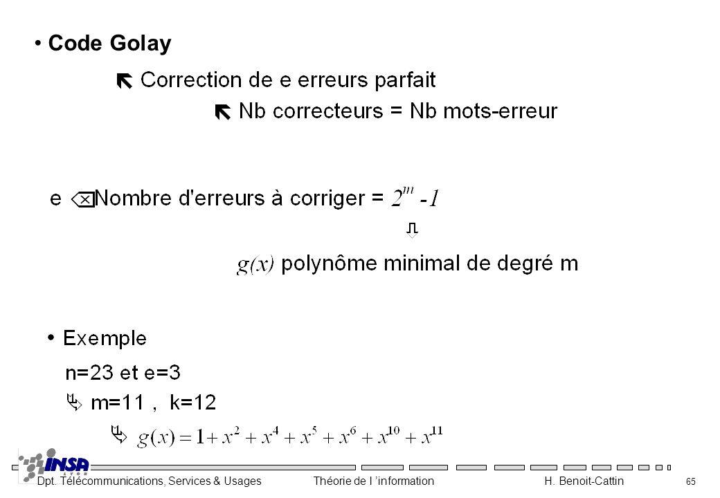 Dpt. Télécommunications, Services & Usages Théorie de l information H. Benoit-Cattin 65 Code Golay