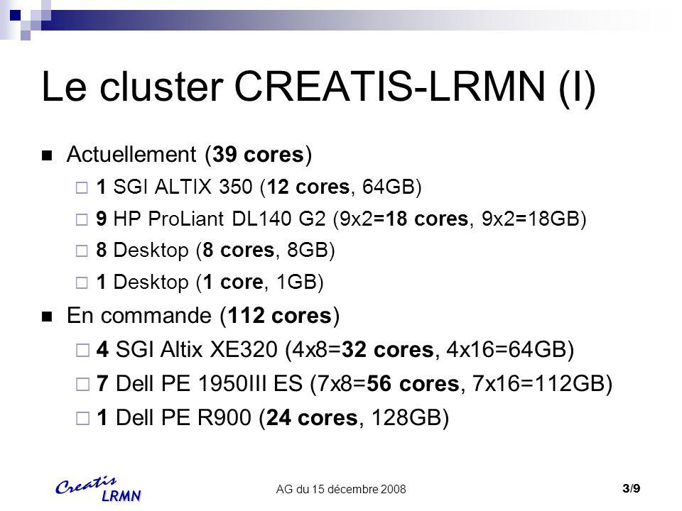 LRMN AG du 15 décembre 20084/9 Le cluster CREATIS-LRMN (II) Outils et logiciels OS : Fedora 9 Matlab 6 & 7 (sauf ALTIX350 IA64) Les packages logiciels du labo (vtk, itk, geant4, gdcm...) Batch manager PBS/TORQUE: http://www.creatis.insa-lyon.fr/mywiki/Utilisation_du_Cluster http://www.creatis.insa-lyon.fr/ganglia Contact : Fabrice Bellet C