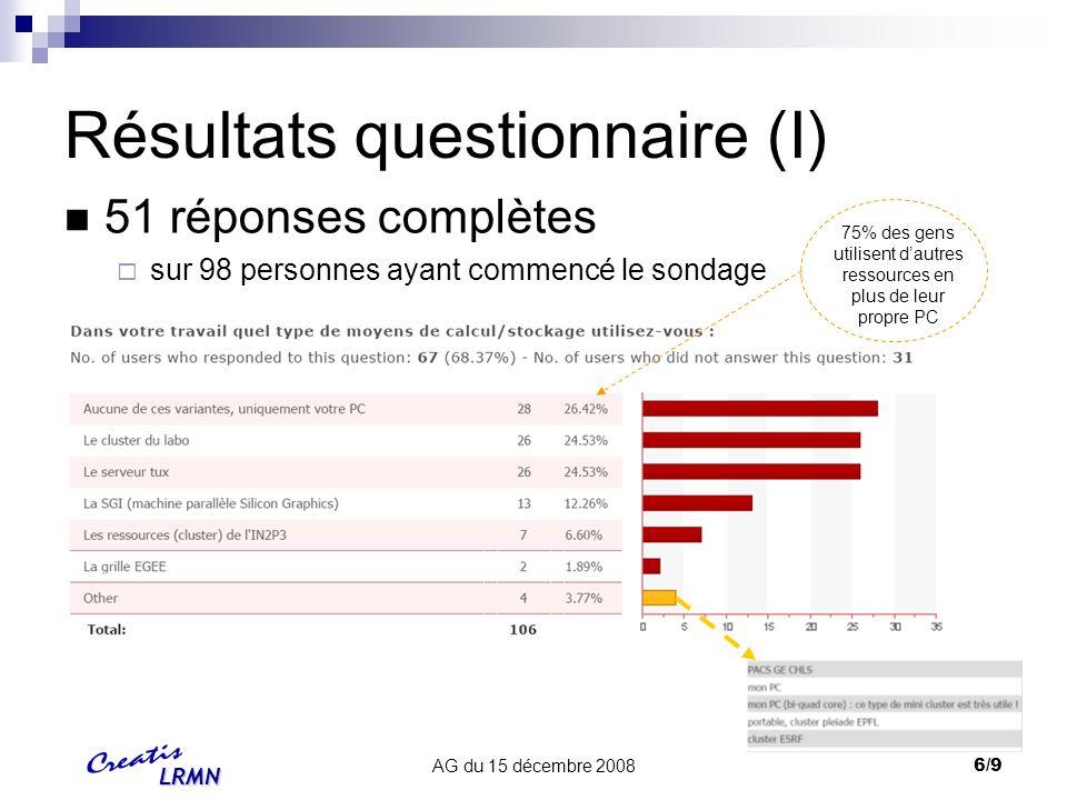 LRMN AG du 15 décembre 20087/9 Résultats questionnaire (II)