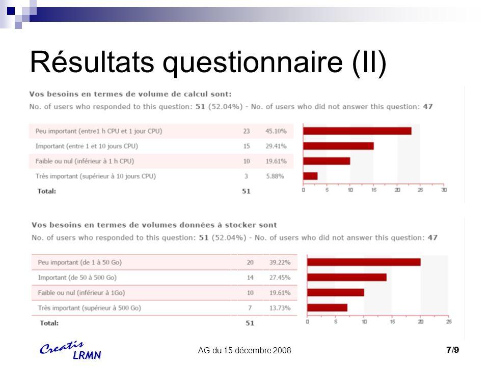LRMN AG du 15 décembre 20088/9 Résultats questionnaire (III)