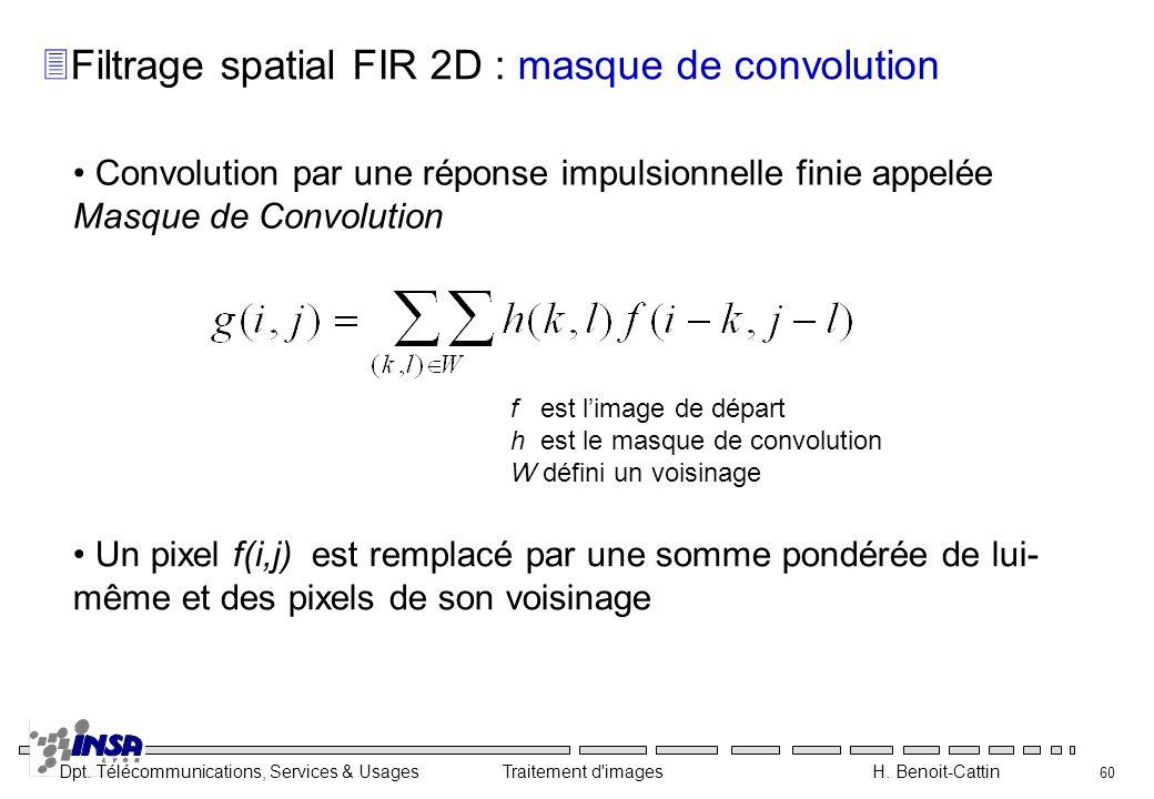 Dpt. Télécommunications, Services & Usages Traitement d'images H. Benoit-Cattin 60 Convolution par une réponse impulsionnelle finie appelée Masque de