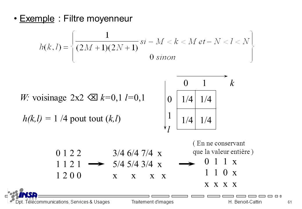 Dpt. Télécommunications, Services & Usages Traitement d'images H. Benoit-Cattin 61 Exemple : Filtre moyenneur W: voisinage 2x2 k=0,1 l=0,1 1/4 h(k,l)