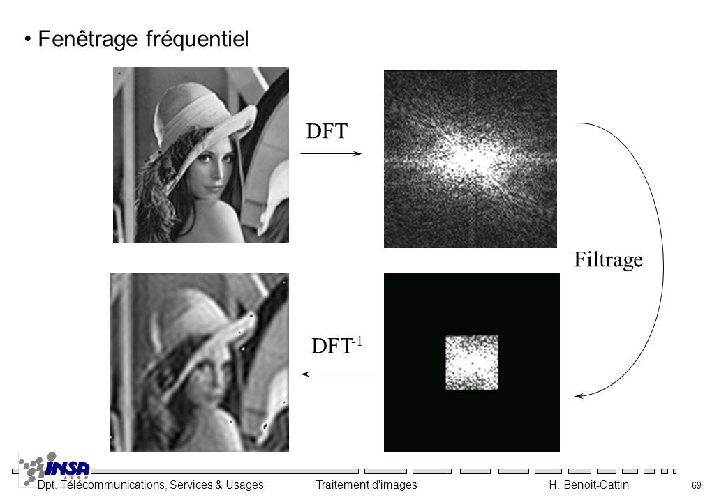 Dpt. Télécommunications, Services & Usages Traitement d'images H. Benoit-Cattin 69 DFT DFT -1 Filtrage Fenêtrage fréquentiel