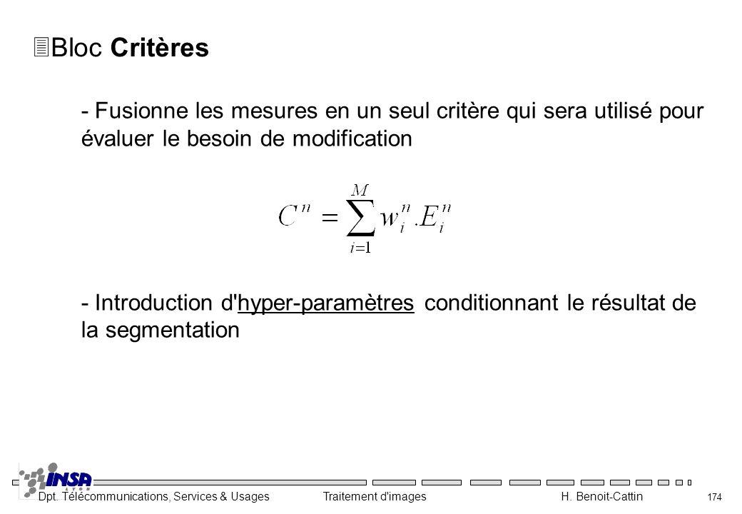 Dpt. Télécommunications, Services & Usages Traitement d'images H. Benoit-Cattin 174 3Bloc Critères - Fusionne les mesures en un seul critère qui sera