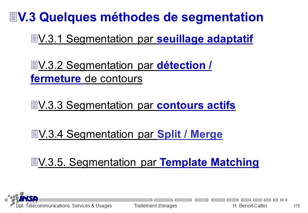 Dpt. Télécommunications, Services & Usages Traitement d'images H. Benoit-Cattin 178 3V.3 Quelques méthodes de segmentation 3V.3.1 Segmentation par seu