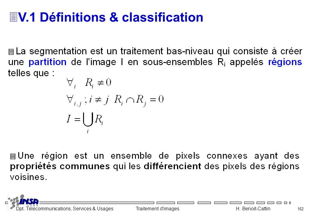 Dpt. Télécommunications, Services & Usages Traitement d'images H. Benoit-Cattin 162 3V.1 Définitions & classification