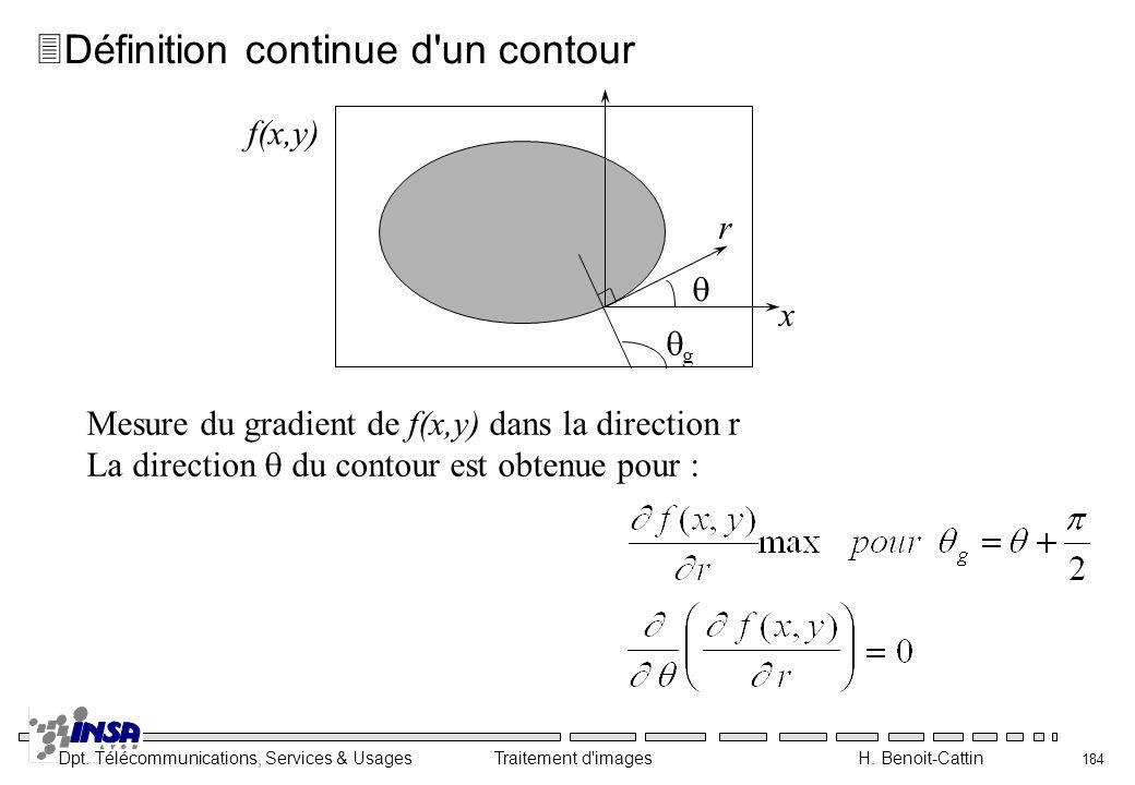 Dpt. Télécommunications, Services & Usages Traitement d'images H. Benoit-Cattin 184 3Définition continue d'un contour Mesure du gradient de f(x,y) dan