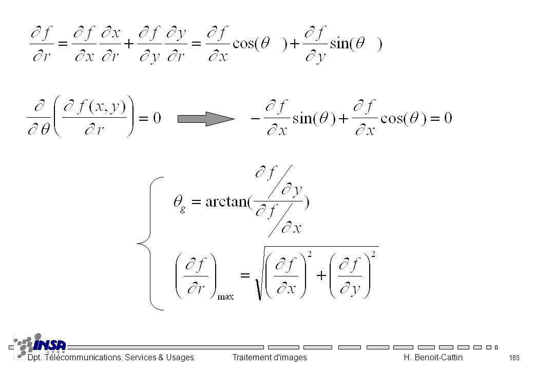 Dpt. Télécommunications, Services & Usages Traitement d'images H. Benoit-Cattin 185