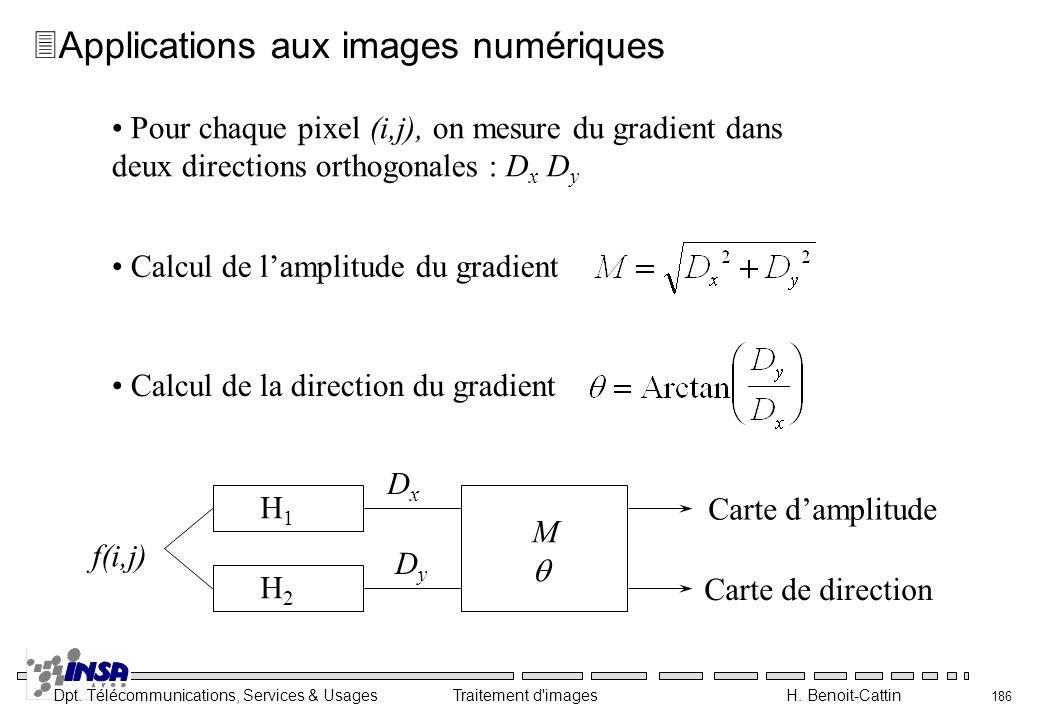 Dpt. Télécommunications, Services & Usages Traitement d'images H. Benoit-Cattin 186 3Applications aux images numériques Pour chaque pixel (i,j), on me