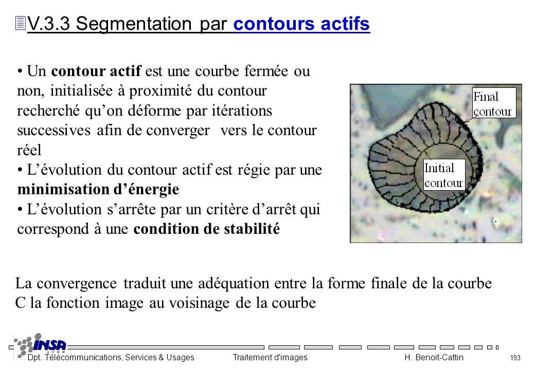 Dpt. Télécommunications, Services & Usages Traitement d'images H. Benoit-Cattin 193 Un contour actif est une courbe fermée ou non, initialisée à proxi