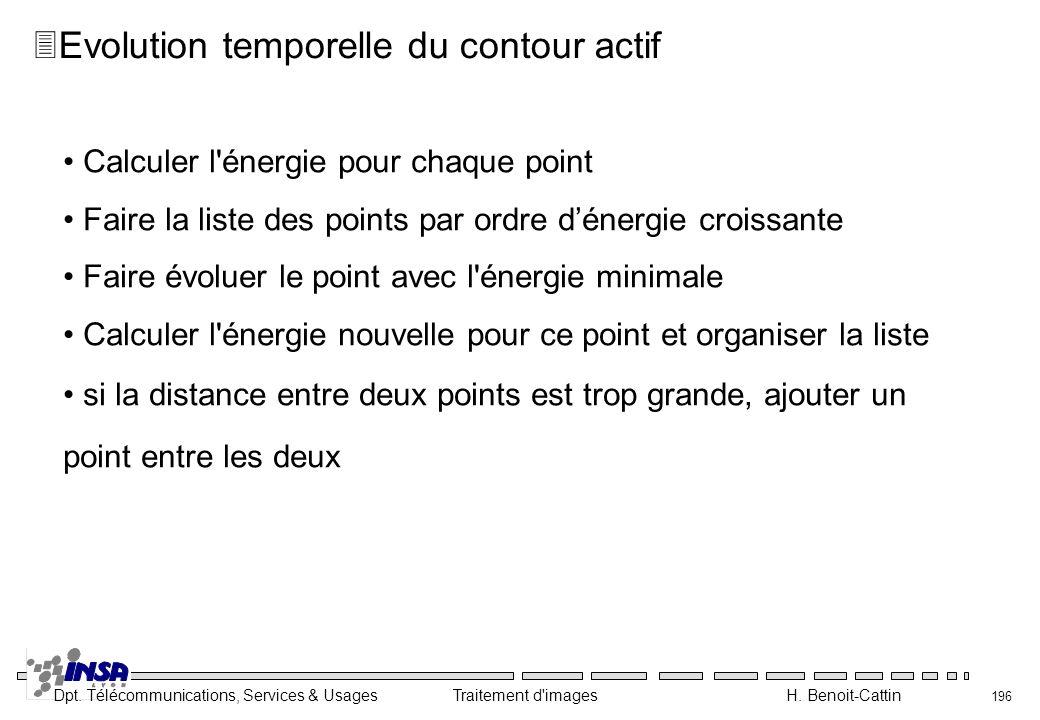 Dpt. Télécommunications, Services & Usages Traitement d'images H. Benoit-Cattin 196 Calculer l'énergie pour chaque point Faire la liste des points par