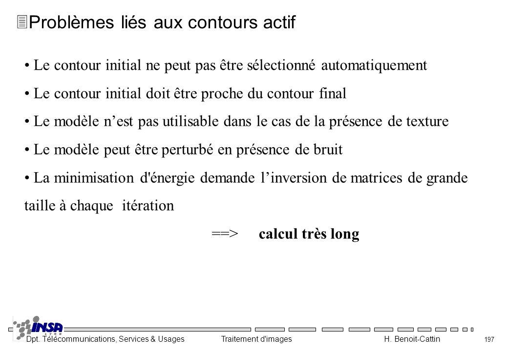 Dpt. Télécommunications, Services & Usages Traitement d'images H. Benoit-Cattin 197 Le contour initial ne peut pas être sélectionné automatiquement Le