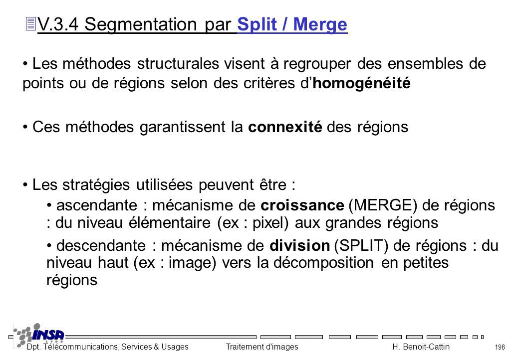 Dpt. Télécommunications, Services & Usages Traitement d'images H. Benoit-Cattin 198 Les méthodes structurales visent à regrouper des ensembles de poin