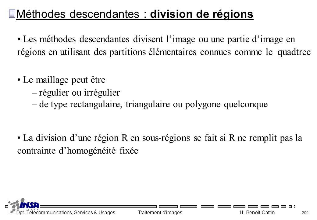 Dpt. Télécommunications, Services & Usages Traitement d'images H. Benoit-Cattin 200 Les méthodes descendantes divisent limage ou une partie dimage en
