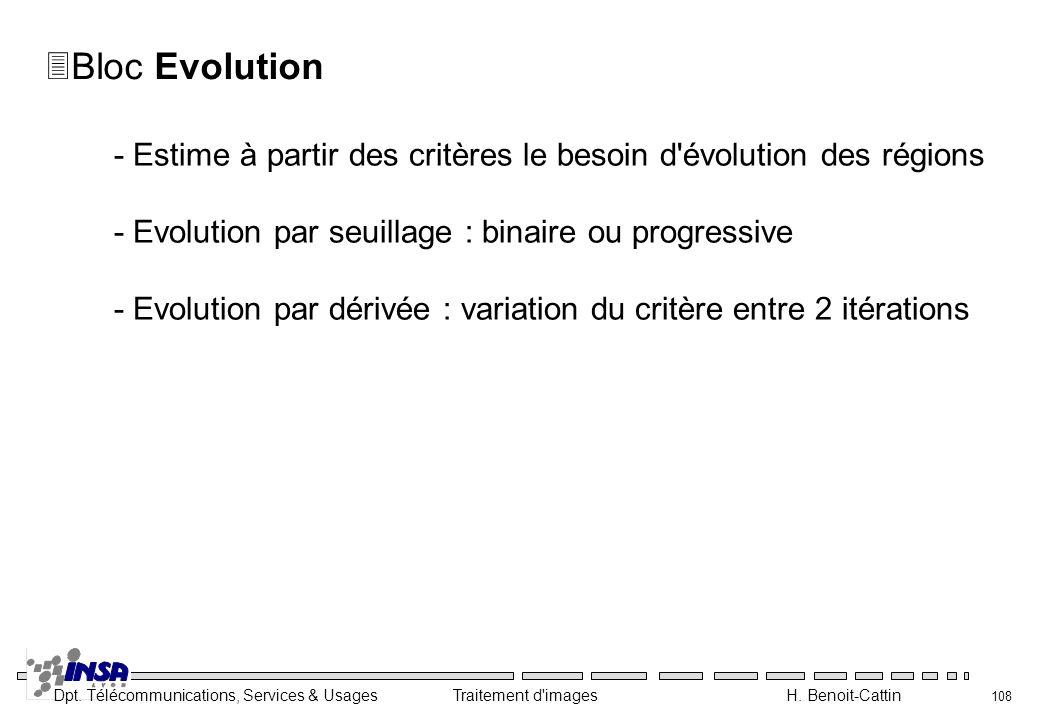 Dpt. Télécommunications, Services & Usages Traitement d'images H. Benoit-Cattin 108 3Bloc Evolution - Estime à partir des critères le besoin d'évoluti