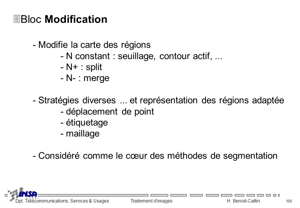 Dpt. Télécommunications, Services & Usages Traitement d'images H. Benoit-Cattin 109 3Bloc Modification - Modifie la carte des régions - N constant : s