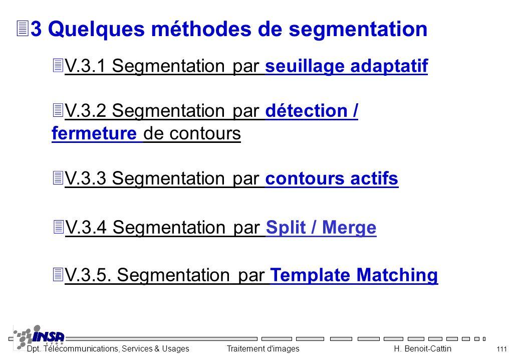 Dpt. Télécommunications, Services & Usages Traitement d'images H. Benoit-Cattin 111 33 Quelques méthodes de segmentation 3V.3.1 Segmentation par seuil
