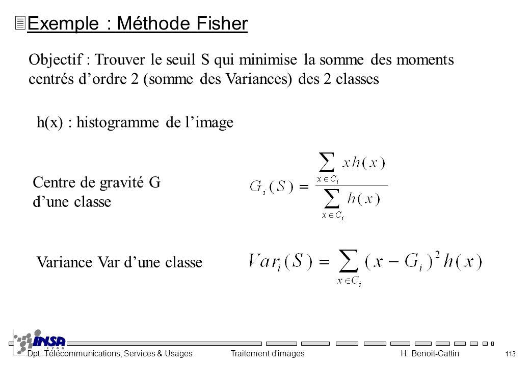 Dpt. Télécommunications, Services & Usages Traitement d'images H. Benoit-Cattin 113 Objectif : Trouver le seuil S qui minimise la somme des moments ce
