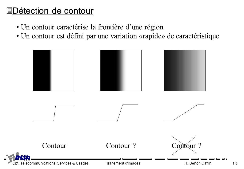 Dpt. Télécommunications, Services & Usages Traitement d'images H. Benoit-Cattin 116 3Détection de contour Un contour caractérise la frontière dune rég