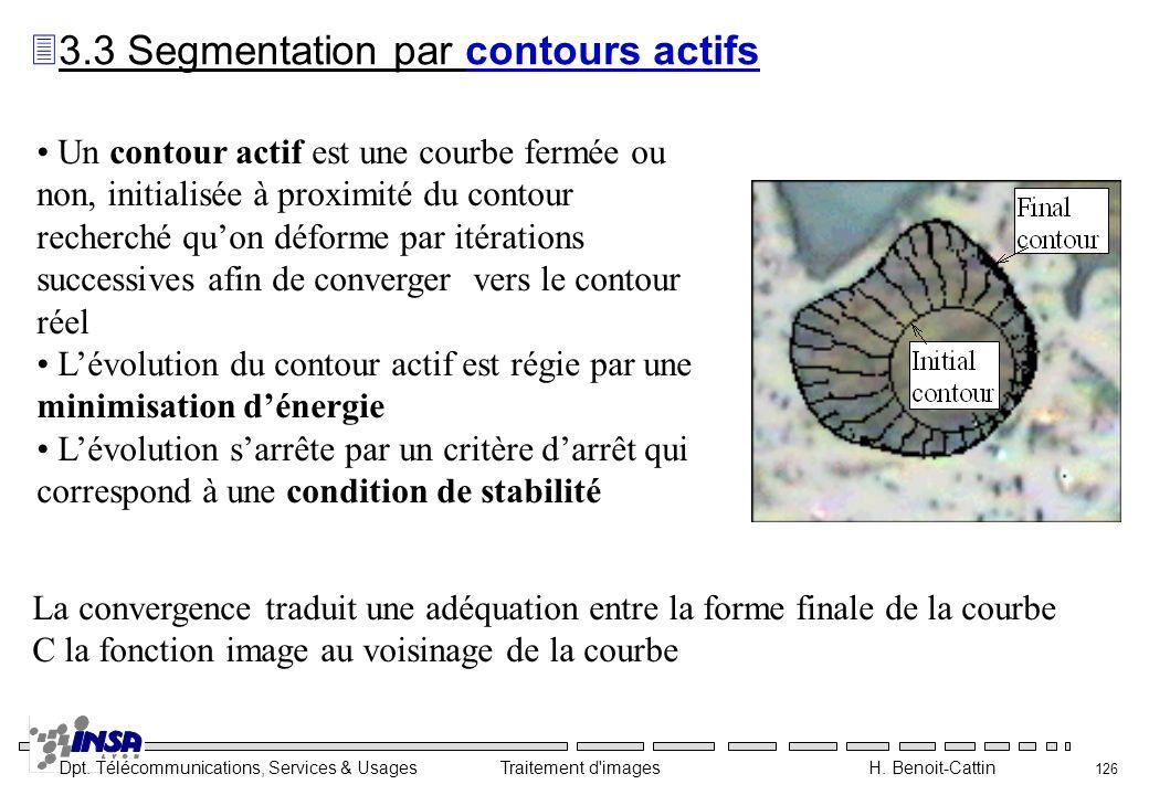 Dpt. Télécommunications, Services & Usages Traitement d'images H. Benoit-Cattin 126 Un contour actif est une courbe fermée ou non, initialisée à proxi