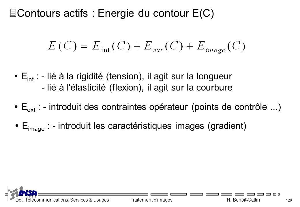 Dpt. Télécommunications, Services & Usages Traitement d'images H. Benoit-Cattin 128 3Contours actifs : Energie du contour E(C) E int : - lié à la rigi