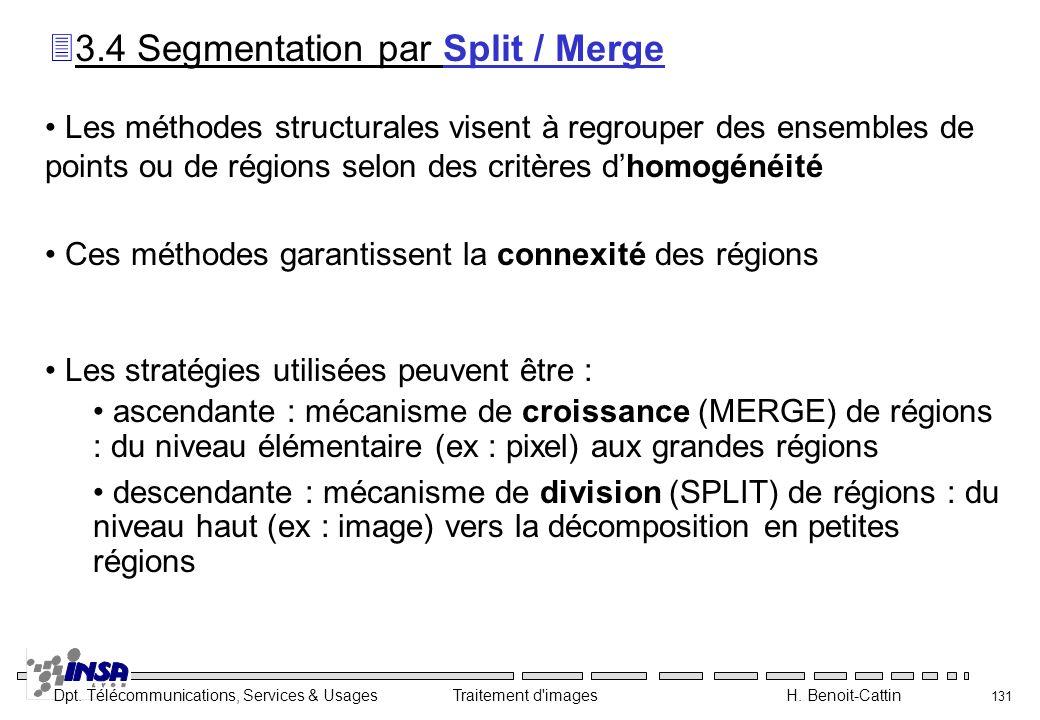 Dpt. Télécommunications, Services & Usages Traitement d'images H. Benoit-Cattin 131 Les méthodes structurales visent à regrouper des ensembles de poin