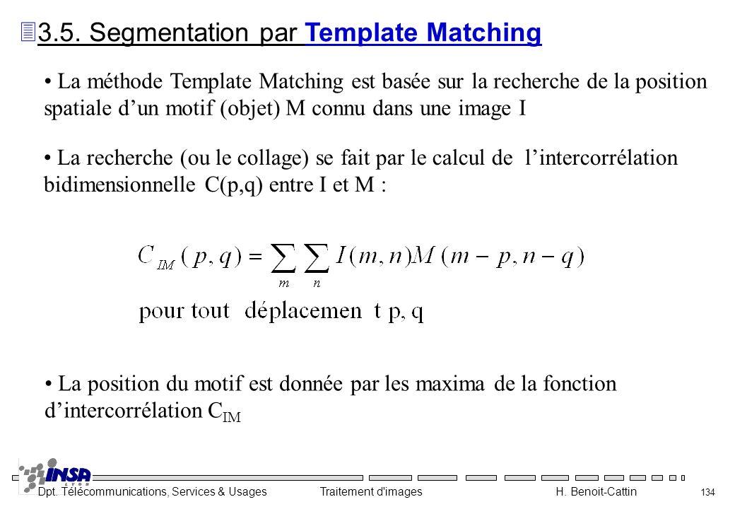 Dpt. Télécommunications, Services & Usages Traitement d'images H. Benoit-Cattin 134 La méthode Template Matching est basée sur la recherche de la posi