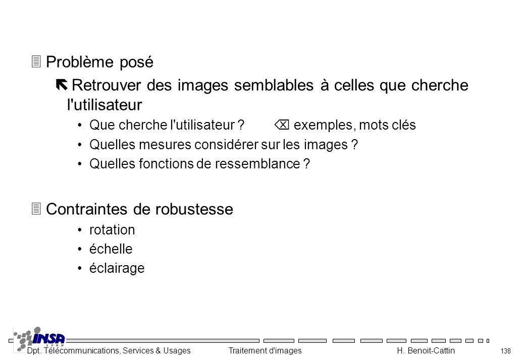 Dpt. Télécommunications, Services & Usages Traitement d'images H. Benoit-Cattin 138 3Problème posé ë Retrouver des images semblables à celles que cher