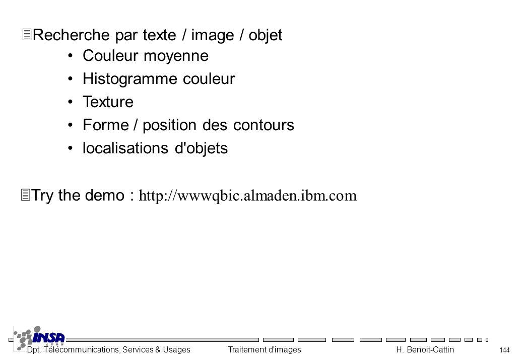 Dpt. Télécommunications, Services & Usages Traitement d'images H. Benoit-Cattin 144 Couleur moyenne Histogramme couleur Texture Forme / position des c
