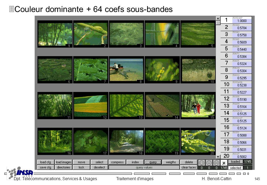 Dpt. Télécommunications, Services & Usages Traitement d'images H. Benoit-Cattin 145 3Couleur dominante + 64 coefs sous-bandes