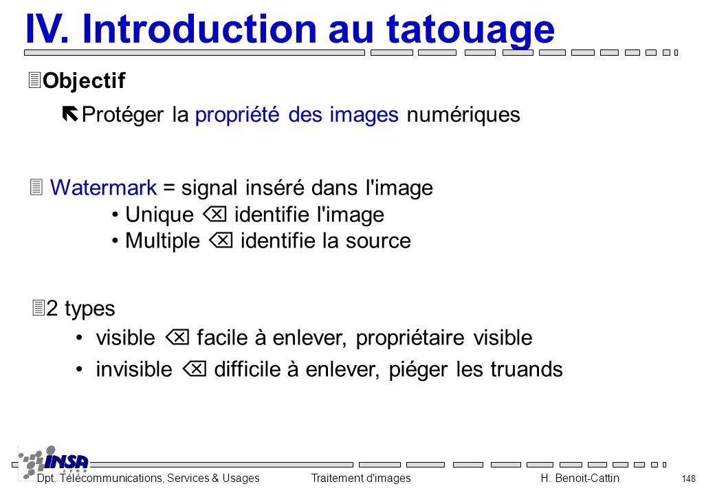 Dpt. Télécommunications, Services & Usages Traitement d'images H. Benoit-Cattin 148 IV. Introduction au tatouage ëProtéger la propriété des images num