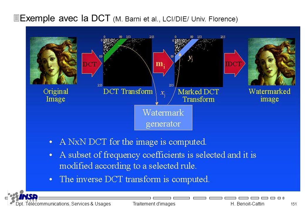 Dpt. Télécommunications, Services & Usages Traitement d'images H. Benoit-Cattin 151 3Exemple avec la DCT (M. Barni et al., LCI/DIE/ Univ. Florence)