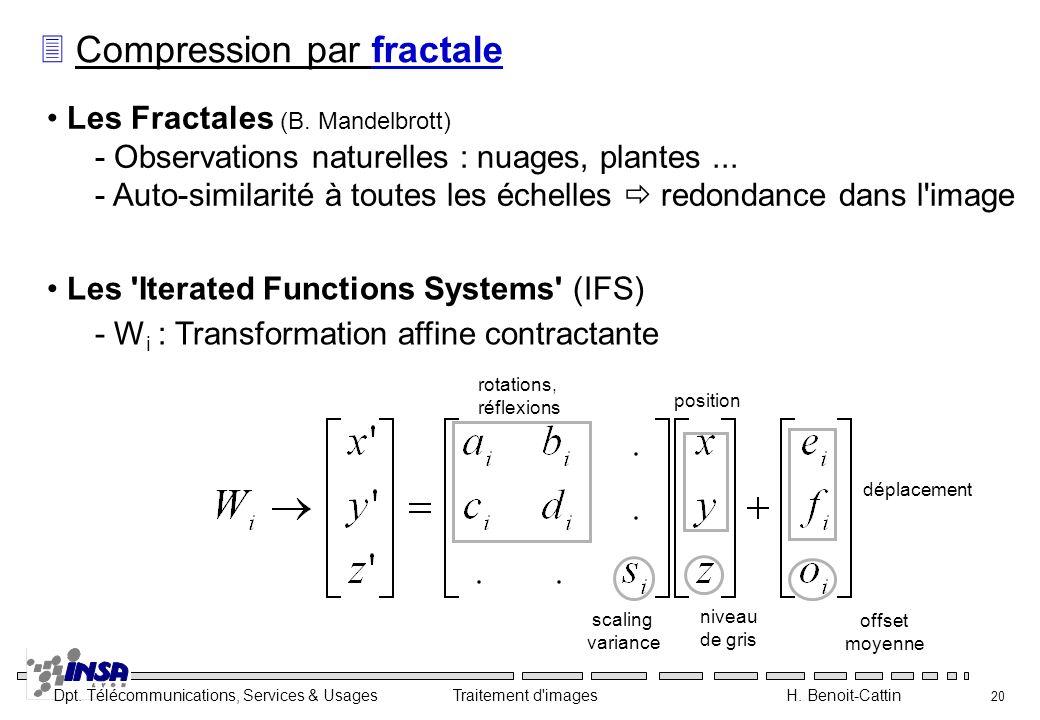 Dpt. Télécommunications, Services & Usages Traitement d'images H. Benoit-Cattin 20 3 Compression par fractale Les Fractales (B. Mandelbrott) - Observa
