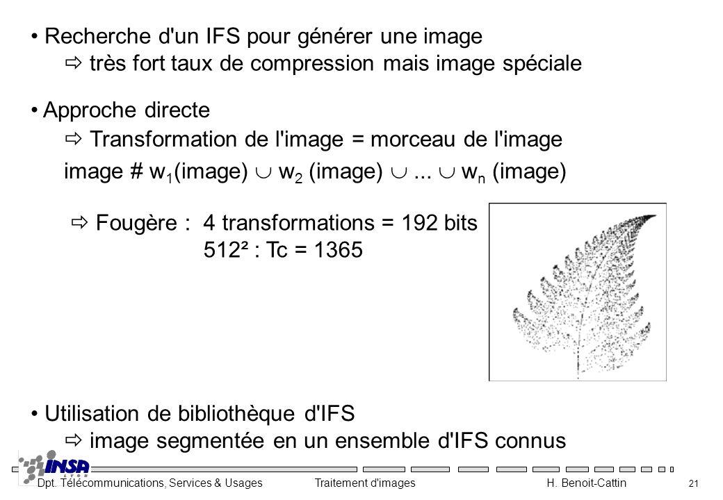 Dpt. Télécommunications, Services & Usages Traitement d'images H. Benoit-Cattin 21 Recherche d'un IFS pour générer une image très fort taux de compres